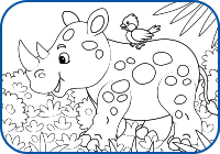 Rhino 2 Coloring Page Preview